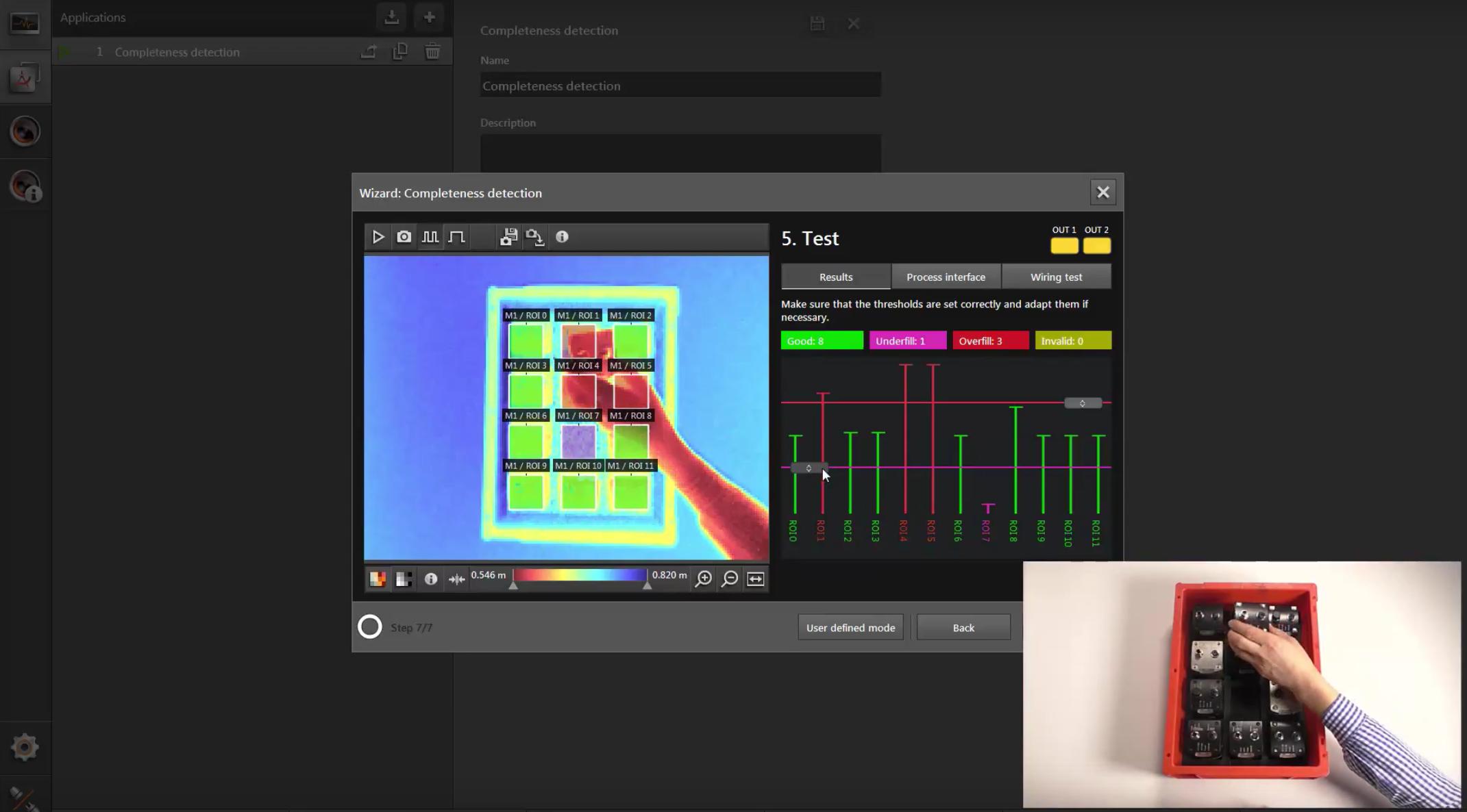 User defined mode Vollständigkeitsüberprüfung mit dem ifm Vision Assistant