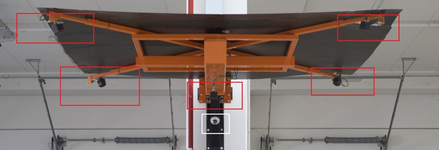 Installation of five O3D303 from ifm crosswise on a metal structure (red) and the camera (white).
