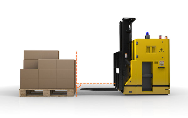 Autonomous forklifts equipped with the PDS system drive up to a distance of between 1 and 2 m from the pallet to be gripped before a ToF camera takes a 3D image of the pallet.